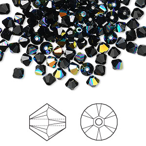 bead, swarovski crystals, crystal passions, jet ab, 4mm xilion bicone (5328). sold per pkg of 48.