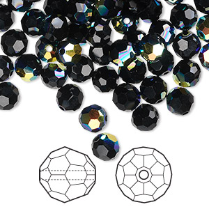 bead, swarovski crystals, crystal passions, jet ab, 6mm faceted round (5000). sold per pkg of 144 (1 gross).