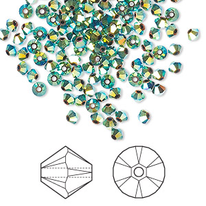 bead, swarovski crystals, crystal passions, jet ab2x, 3mm xilion bicone (5328). sold per pkg of 48.