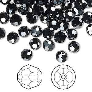 bead, swarovski crystals, crystal passions, jet hematite 2x, 6mm faceted round (5000). sold per pkg of 144 (1 gross).