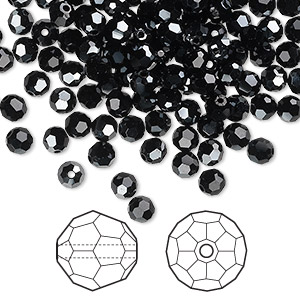 bead, swarovski crystals, crystal passions, jet hematite, 4mm faceted round (5000). sold per pkg of 144 (1 gross).