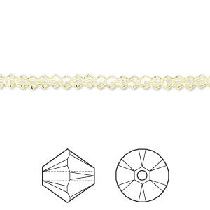 bead, swarovski crystals, crystal passions, jonquil, 3mm xilion bicone (5328). sold per pkg of 48.