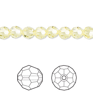 bead, swarovski crystals, crystal passions, jonquil, 6mm faceted round (5000). sold per pkg of 12.
