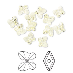 bead, swarovski crystals, crystal passions, jonquil, 6x5mm faceted butterfly (5754). sold per pkg of 12.