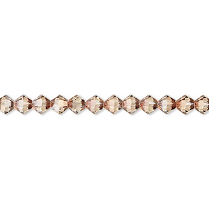 bead, swarovski crystals, crystal passions, jonquil antique pink, 4mm xilion bicone with 0.8mm hole (5328). sold per pkg of 144 (1 gross).