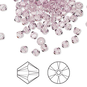 bead, swarovski crystals, crystal passions, light amethyst, 4mm xilion bicone (5328). sold per pkg of 144 (1 gross).