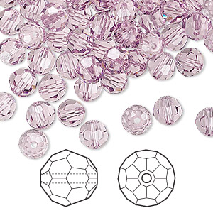 bead, swarovski crystals, crystal passions, light amethyst, 6mm faceted round (5000). sold per pkg of 144 (1 gross).