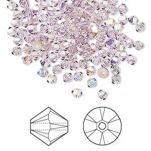 bead, swarovski crystals, crystal passions, light amethyst ab, 3mm xilion bicone (5328). sold per pkg of 144 (1 gross).