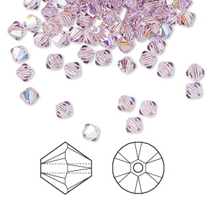 bead, swarovski crystals, crystal passions, light amethyst ab, 4mm xilion bicone (5328). sold per pkg of 48.