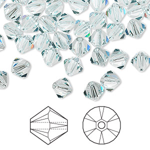bead, swarovski crystals, crystal passions, light azore, 6mm xilion bicone (5328). sold per pkg of 144 (1 gross).