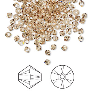 bead, swarovski crystals, crystal passions, light colorado topaz, 3mm xilion bicone (5328). sold per pkg of 48.