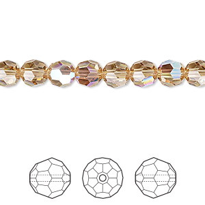 bead, swarovski crystals, crystal passions, light colorado topaz shimmer, 6mm faceted round (5000). sold per pkg of 12.