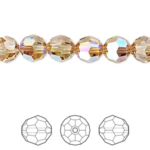 bead, swarovski crystals, crystal passions, light colorado topaz shimmer, 8mm faceted round (5000). sold per pkg of 144 (1 gross).