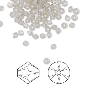 bead, swarovski crystals, crystal passions, light grey opal, 3mm xilion bicone (5328). sold per pkg of 48.