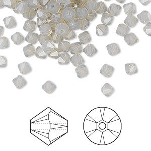 bead, swarovski crystals, crystal passions, light grey opal, 4mm xilion bicone (5328). sold per pkg of 144 (1 gross).