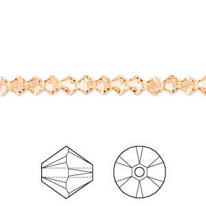 bead, swarovski crystals, crystal passions, light peach, 4mm xilion bicone (5328). sold per pkg of 48.