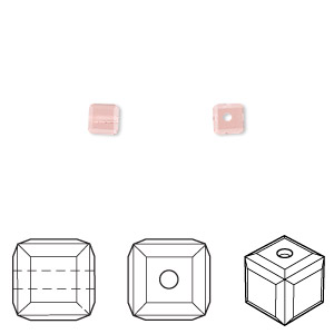 bead, swarovski crystals, crystal passions, light peach, 4x4mm faceted cube (5601). sold per pkg of 12.