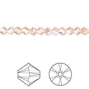 bead, swarovski crystals, crystal passions, light peach ab, 4mm xilion bicone (5328). sold per pkg of 144 (1 gross).