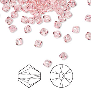 bead, swarovski crystals, crystal passions, light rose, 4mm xilion bicone (5328). sold per pkg of 48.