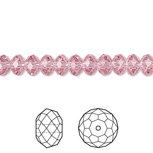 bead, swarovski crystals, crystal passions, light rose, 6x4mm faceted rondelle (5040). sold per pkg of 144 (1 gross).