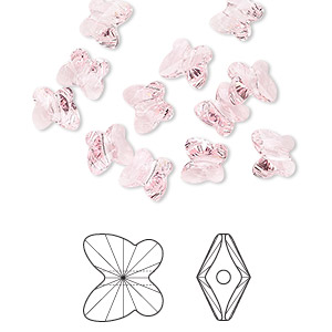 bead, swarovski crystals, crystal passions, light rose, 6x5mm faceted butterfly (5754). sold per pkg of 144 (1 gross).