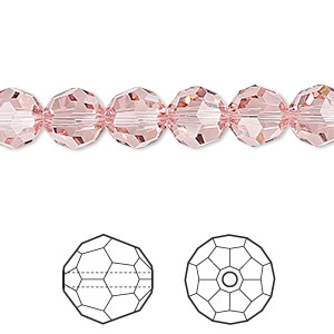 bead, swarovski crystals, crystal passions, light rose, 8mm faceted round (5000). sold per pkg of 12.