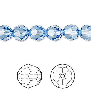 bead, swarovski crystals, crystal passions, light sapphire, 8mm faceted round (5000). sold per pkg of 12.