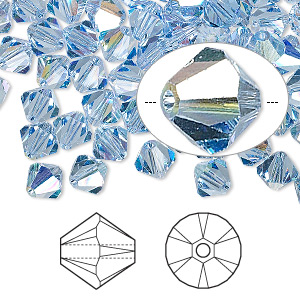 bead, swarovski crystals, crystal passions, light sapphire ab, 6mm xilion bicone (5328). sold per pkg of 144 (1 gross).
