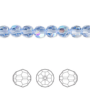 bead, swarovski crystals, crystal passions, light sapphire shimmer, 6mm faceted round (5000). sold per pkg of 144 (1 gross).