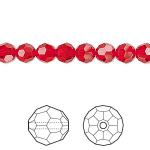 bead, swarovski crystals, crystal passions, light siam, 6mm faceted round (5000). sold per pkg of 12.