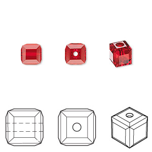 bead, swarovski crystals, crystal passions, light siam, 6x6mm faceted cube (5601). sold per pkg of 6.