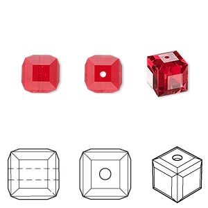 bead, swarovski crystals, crystal passions, light siam, 8x8mm faceted cube (5601). sold per pkg of 6.