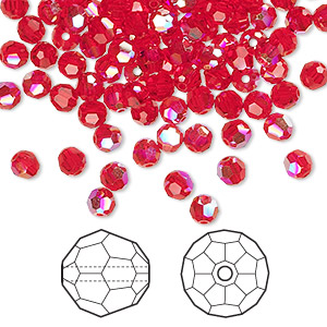bead, swarovski crystals, crystal passions, light siam ab, 4mm faceted round (5000). sold per pkg of 144 (1 gross).