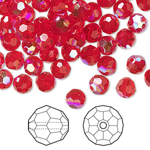bead, swarovski crystals, crystal passions, light siam ab, 6mm faceted round (5000). sold per pkg of 144 (1 gross).