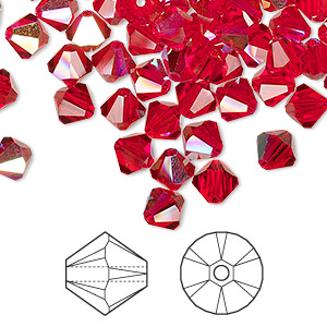 bead, swarovski crystals, crystal passions, light siam ab, 6mm xilion bicone (5328). sold per pkg of 144 (1 gross).