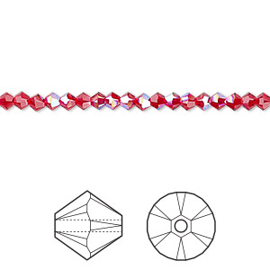 bead, swarovski crystals, crystal passions, light siam shimmer, 3mm xilion bicone (5328). sold per pkg of 144 (1 gross).