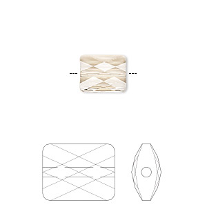 bead, swarovski crystals, crystal passions, light silk, 10x8mm faceted mini rectangle (5055). sold per pkg of 24.