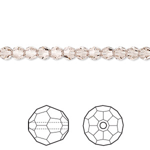 bead, swarovski crystals, crystal passions, light silk, 4mm faceted round (5000). sold per pkg of 12.