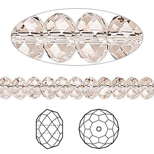 bead, swarovski crystals, crystal passions, light silk, 6x4mm faceted rondelle (5040). sold per pkg of 12.