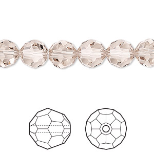 bead, swarovski crystals, crystal passions, light silk, 8mm faceted round (5000). sold per pkg of 144 (1 gross).