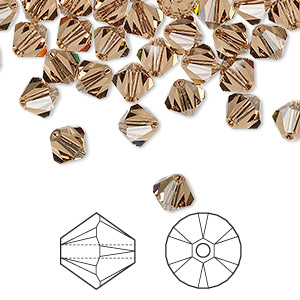 bead, swarovski crystals, crystal passions, light smoked topaz, 6mm xilion bicone (5328). sold per pkg of 24.
