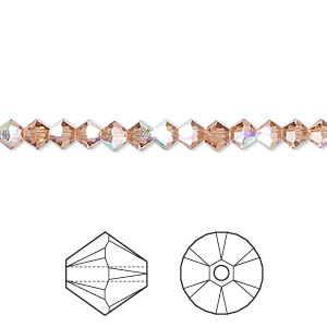 bead, swarovski crystals, crystal passions, light smoked topaz ab, 4mm xilion bicone (5328). sold per pkg of 48.