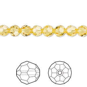 bead, swarovski crystals, crystal passions, light topaz, 6mm faceted round (5000). sold per pkg of 12.