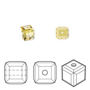 bead, swarovski crystals, crystal passions, light topaz, 6x6mm faceted cube (5601). sold per pkg of 6.