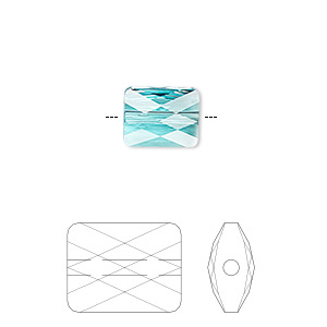 bead, swarovski crystals, crystal passions, light turquoise, 10x8mm faceted mini rectangle (5055). sold per pkg of 24.