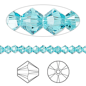bead, swarovski crystals, crystal passions, light turquoise, 4mm xilion bicone (5328). sold per pkg of 144 (1 gross).