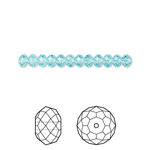bead, swarovski crystals, crystal passions, light turquoise, 4x3mm faceted rondelle (5040). sold per pkg of 12.