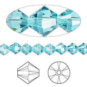 bead, swarovski crystals, crystal passions, light turquoise, 6mm xilion bicone (5328). sold per pkg of 144 (1 gross).