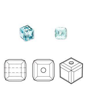 bead, swarovski crystals, crystal passions, light turquoise, 6x6mm faceted cube (5601). sold per pkg of 48.