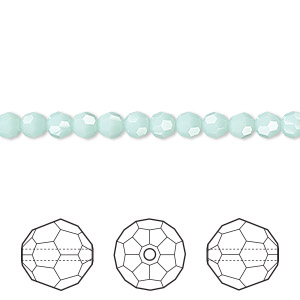 bead, swarovski crystals, crystal passions, mint alabaster, 4mm faceted round (5000). sold per pkg of 12.